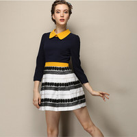 Block Sleeve Collared Pleated Pattern Dress
