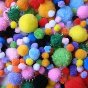 200piece/pack Mixed Color Multicolor Pompoms pom-pom Kindergarten DIY Art Craft Materials for Creative Kids Early Educational