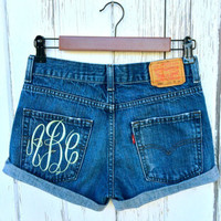 Levis High Waisted Cut Off Jean Denim Shorts - with monogram - Sizes US 0 - 20 Womens