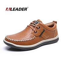 New 2017 Men Leather Shoes Casual Oxford Shoes for Men Spring Fashion Lace Up Dress Shoes Outdoor Work Shoe Men Sapatos