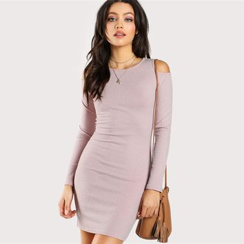 Pink Round Neck Long Sleeve Cold Shoulder Bodycon Dress