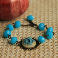Bracelet: Turquoise rose cabochon with faceted turquoise glass beads, antique brass chain, perfect gift for her, mother's day gift