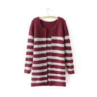 Magic Pieces Woman's Stripes Pattern Cardigan 080874 Color Wine red