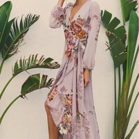 Long Sleeve Wrap Dress Lavender/ Floral