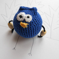 Black Friday Etsy Crochet Baby Teething Toy - Blue owl - Wooden Teething Bead - Wood and Cotton