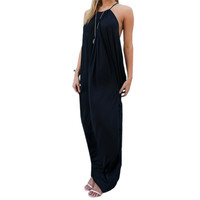 2017 Summer Women Casual Loose Sexy Off Shoulder Backless Solid Dress Maxi Beach Long Dress Ladies Strapless Vestidos Plus Size