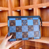 LV new checkerboard logo pattern canvas clutch toilet bag