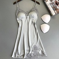Lace Sleepshirts Women Clothes Sleep Wear Sleeveless Lingerie Sleepwear Nightwear Robe Silk Dress Fashion Sexy Nightgowns