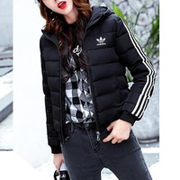 """""""Adidas"""" Women Sport Casual Fashion Stripe Long Sleeve Zip Cardigan Hooded Cotton-padded Clothes Bread Service Coat"""