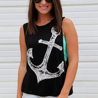 Sequins Anchor Muscle Tank {Black}