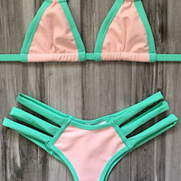 Montce | Euro Top x Tri Band Bottom Bikini Separates (Bubblegum Vinyl / Mint)