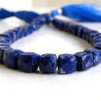 Lapis Lazuli Gemstone Cube Royal Blue Faceted Drilled Beads 6mm 17 beads
