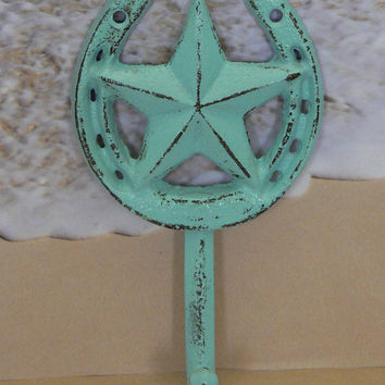 Horse Shoe Star Country Western Wall Hook Cast Iron Cottage Chic Light Blue Horseshoe Shabby Chic Distressed Leash Key Jewelry Hook