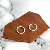 open circle stud earrings, silver plated, minimal, minimalist