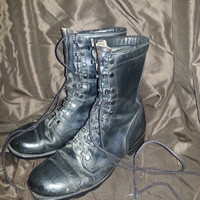 Vintage 80s RO-SEARCH Black Leather Military Combat Boots - Jungle Boots - Size 8 1/2 R