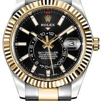 Luxury Rolex Sky-Dweller Black Dial Gold & Steel Mens Watch - Reference: 326933