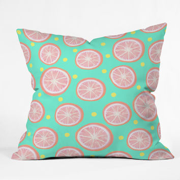 Lisa Argyropoulos Pink Grapefruit and Dots Throw Pillow