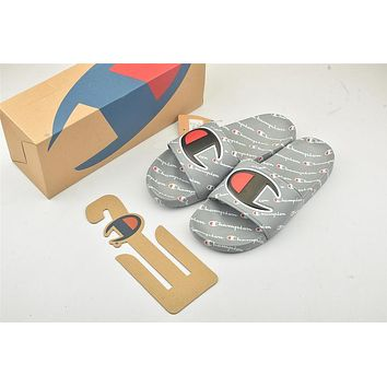 Champion Life Youth Slide Sandals Repeating Logo Grey