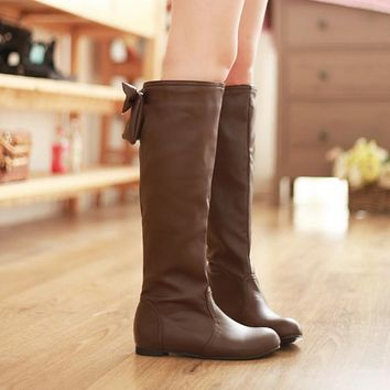 Round Toe Bowtie Tall Boots for Women 6469