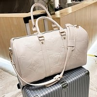 LV Louis vuitton new product solid color embossed letters men and women handbag travel bag luggage bag