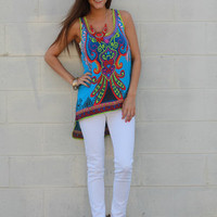 Stand Out In The Crowd Tank, Aqua