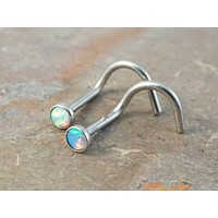 White Opal and Light Blue Fire Opal Corkscrew Nose Ring Stud