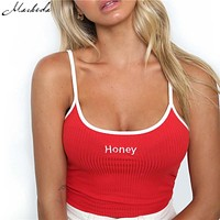 """Women Tank Tops Red White Letter """"Honey"""" Print Sexy Casual Sleeveless Camisole Crochet Crop top"""