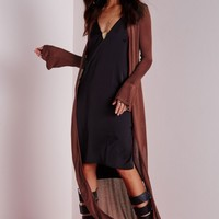 Missguided - Bell Sleeved Button Longline Cardigan Rust