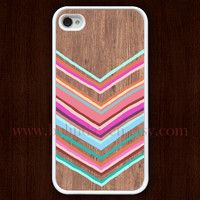 wood iPhone 4 Case, iphone 4s case, colorful chevron iphone 4 case, iPhone Hard Case