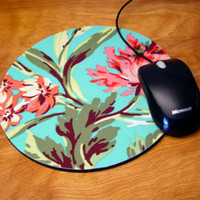 mousepad / Mouse Pad / Mat - round or rectangle love Bliss Bouquet - Pink / teal / aqua Office Supplies desk office accessory coworker gift