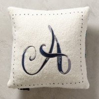 Embroidered Monogram Pillow by Anthropologie Assorted