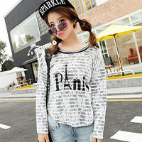 White Striped Long Sleeve Floral Lace Top