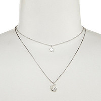 kate spade new york Starry Eyed Double Pendant Necklace - Silver