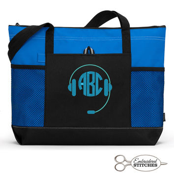 Personalized DJ Monogram Tote Bag with Mesh Pockets, Front Pocket, Zippered Closure