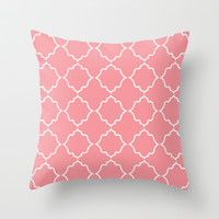Moroccan White and Coral Throw Pillow by House of Jennifer