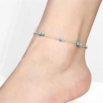 Petite Turquoise Beads Silver Anklet