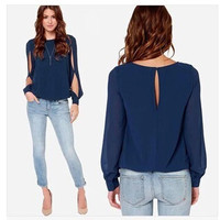 Stylish Women's Slim Long Sleeve Shirt Women's Blouse [6281613188]