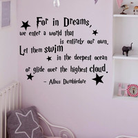 Wall Decals Quotes Albus Dumbledore For In Dreams We Enter A World Harry Potter Wall Decal Nursery Kids Baby Home Decor Vinyl Lettering Q110