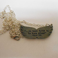 Once Upon A time Fairytale Peter Pan Wings Pendant Necklace