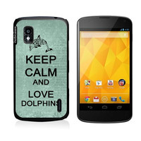 Keep Calm And Love Dolphins Teal-Floral Google Nexus 4 Case - For Nexus 4
