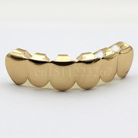 REAL SHINY! REAL GOLD PLATED HIPHOP TEETH GRILLZ TOP & BOTTOM GRILL \