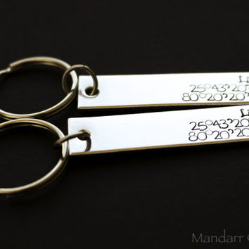 Custom Initials and GPS Co-Ordinates Keychains, Set of Two for Couples or Best Friends, Anniversary Gift, Long Distance Realtionship