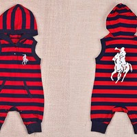Toddler Baby Boys Kids Cotton Stripes Hoody Clothes One-pieces Rompers Playsuits