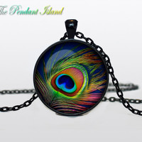 Peacock Pendant  Peacock Necklace Aqua Turquoise Orange Red Jewelry Necklace for him Gifts for Her (P1H01V01)