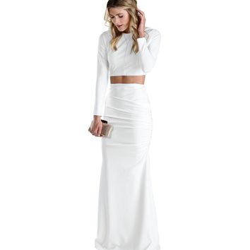 White Polished Two Piece Long Dress
