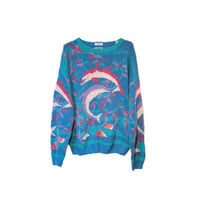 Vintage Dolphin Sweater Hand Knit Animal Print Womens Sweater
