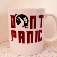 Hitchhiker's Guide to the Galaxy inspired coffee mug with the words Don't Panic