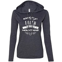 """Christian Clothing - """"Faith Can Move Mountains"""" Ladies Sweater"""