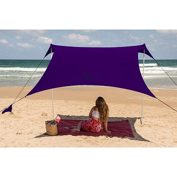 Family Beach Tent Canopy Sunshade with Sandbag Anchors - Simple & Versatile. SPF50, Lycra Sun shelter for The Beach,Camping and Outdoors eggplant Large