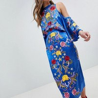 ASOS Cold Shoulder Pencil Midi Dress with Star and Floral Embroidery at asos.com
